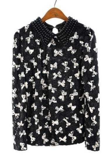 Black Beading Lapel Bow Print Lace Blouse