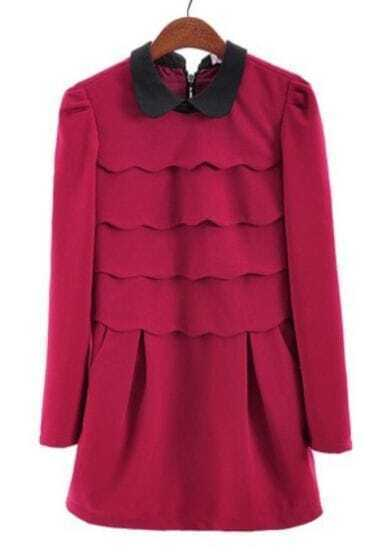 Red Long Sleeve Cascading Ruffle Back Zipper Dress
