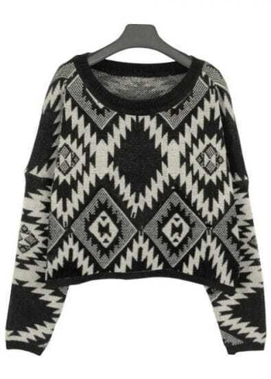 Black Long Sleeve Asymmetrical Geometric Crop Sweater