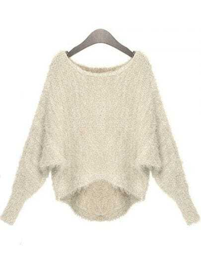 Apricot Batwing Long Sleeve Sequined Sweater