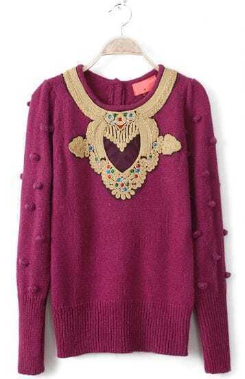Rose Red Long Sleeve Ball Top Beading Sweater