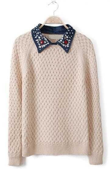 Beige Contrast Denim Lapel Beading Sequined Sweater