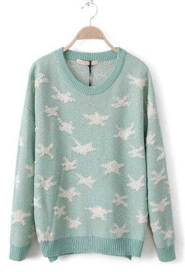 Green Long Sleeve Stars Embroidery Pullovers Sweater