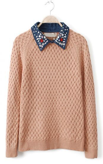 Pink Contrast Denim Lapel Beading Sequined Sweater