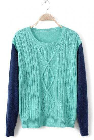 Turquoise Contrast Long Sleeve Diaper Pullovers Sweater