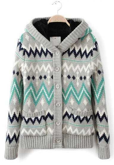 Grey Hooded Long Sleeve Zigzag Cardigan Sweater