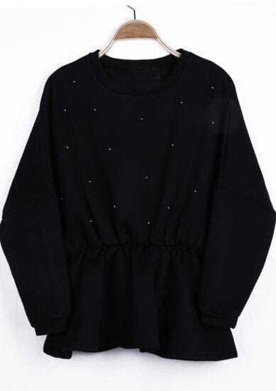 Black Long Sleeve Beading Elastic Waist Peplum Sweatshirt