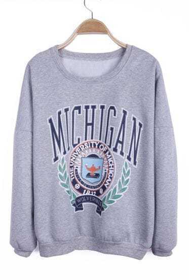 Grey THE UNIVERSITY OF MICHIGAN Print Pullover Sweatshirt