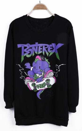 Black BONEREX Cartoon Pattern Back Print Pullover Sweatshirt