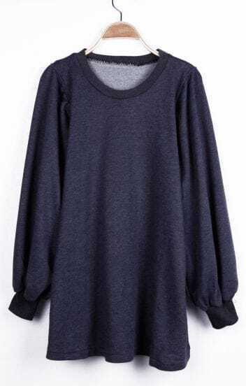 Plain Dark Grey Puff Sleeve Oversized Long Pullover Sweatshirt