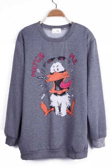 Grey WATCH ME Duck Pattern Round Neck Pullover Sweatshirt
