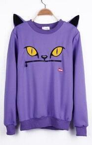 Purple Cartoon Pattern Cat Ears Embellished Shoulder Sweatshirt