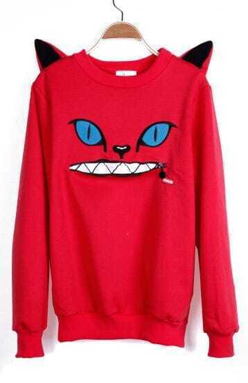 Red Cartoon Pattern Cat Ears Embellished Shoulder Sweatshirt