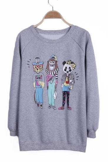 Grey Cartoon Panda Cat Gorilla Pattern Pullover Sweatshirt