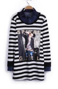Black and White Striped SPIRAL GIRL Pattern Contrast Denim Collar T-shirt