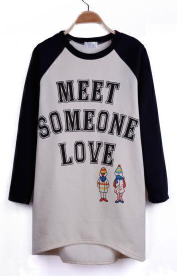 Beige Reglan Sleeve MEET SOMEONE LOVE Print Pullover Sweatshirt