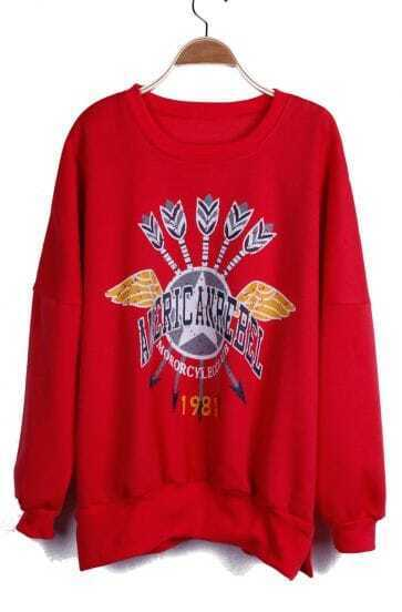 Red AMERIC ANREBEL MORORCYL ECCLUB Print Zipper Side Sweatshirt