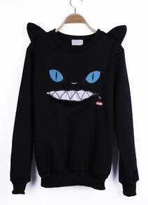 Black Cartoon Pattern Cat Ears Embellished Shoulder Sweatshirt