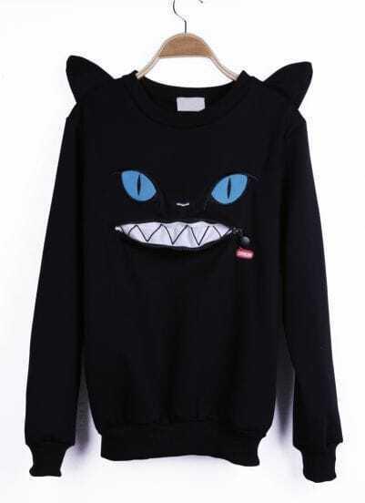 Black Cartoon Pattern Cat Ears Embellished Shoulder Sweatshirt