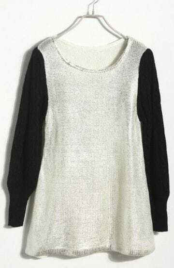 White Long Sleeve Drawstring Waist Shoulder Pads Sweater