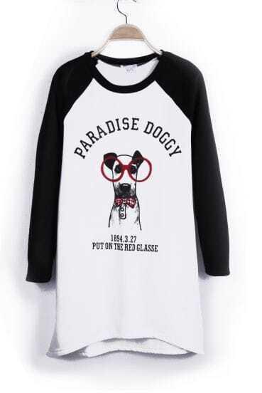 White Reglan Sleeve PARADISE DOGGY PUT ON THE RED GLASS Sweatshirt