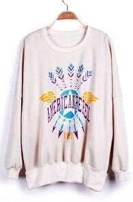 Beige AMERIC ANREBEL MORORCYL ECCLUB Print Zipper Side Sweatshirt