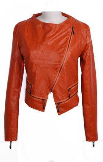 Orange Wide Lapel Zipper Embellished Hem PU Leather Biker Jacket