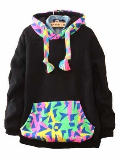 Black Hooded Long Sleeve Geometric Pockets Sweatshirt