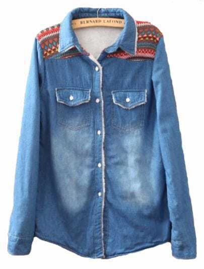 Blue Lapel Long Sleeve Embroidery Denim Blouse