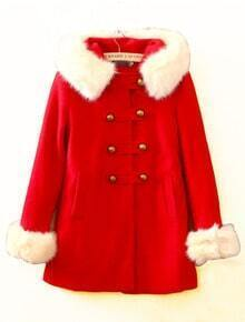 Red Fur Hooded Long Sleeve Buttons Pockets Coat