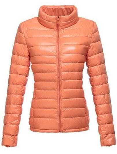 Orange High Neck Long Sleeve Zipper Down Coat