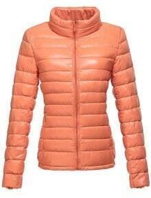 Orange High Neck Long Sleeve Zipper Down Coat