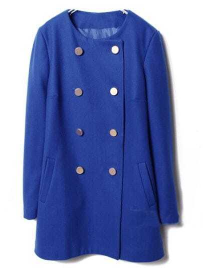 Navy Long Sleeve Double Breasted Pockets Coat
