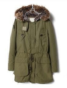 Green Fur Hooded Long Sleeve Drawstring Coat