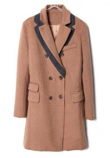 Camel Notch Lapel Long Sleeve Buttons Pockets Coat