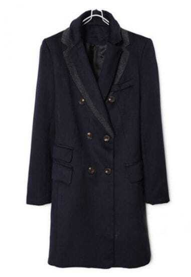 Navy Notch Lapel Long Sleeve Buttons Pockets Coat