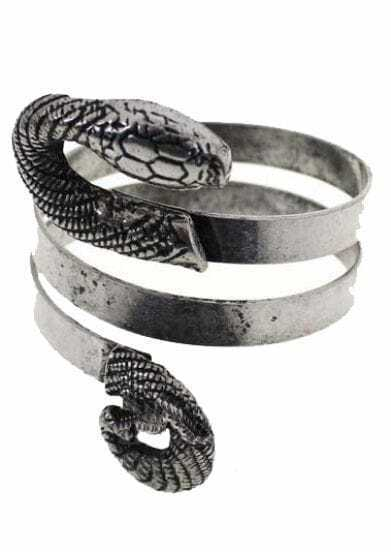 Silver Snake Wound Bangle Bracelet