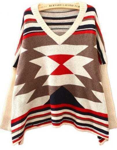 Beige Batwing Long Sleeve Geometric Embroidery Sweater