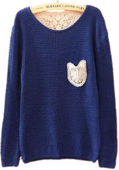 Blue Long Sleeve Lace Embroidery Pocket Sweater