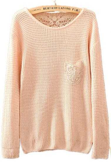Beige Long Sleeve Lace Embroidery Pocket Sweater