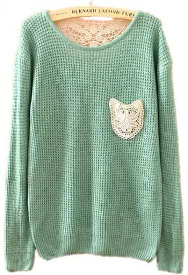 Green Long Sleeve Lace Embroidery Pocket Sweater