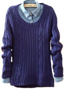 Blue Long Sleeve Patch Pullovers Loose Sweater