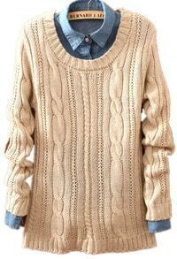 Beige Long Sleeve Patch Pullovers Loose Sweater