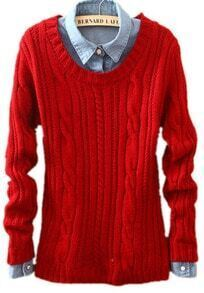 Red Long Sleeve Patch Pullovers Loose Sweater