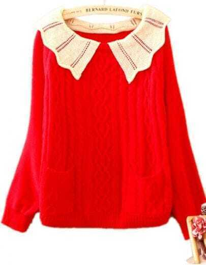 Red Contrast Lapel Batwing Long Sleeve Pockets Sweater