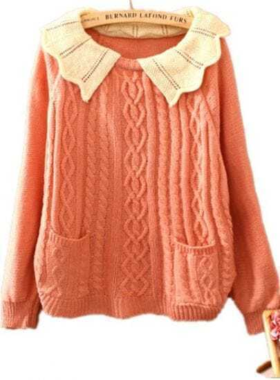 Pink Contrast Lapel Batwing Long Sleeve Pockets Sweater
