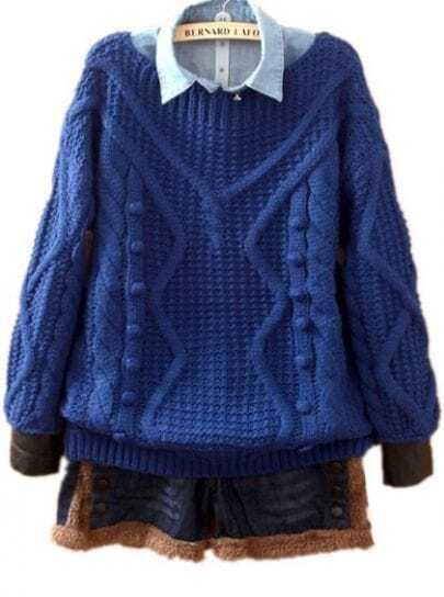 Blue Long Sleeve Ball Top Embellished Sweater