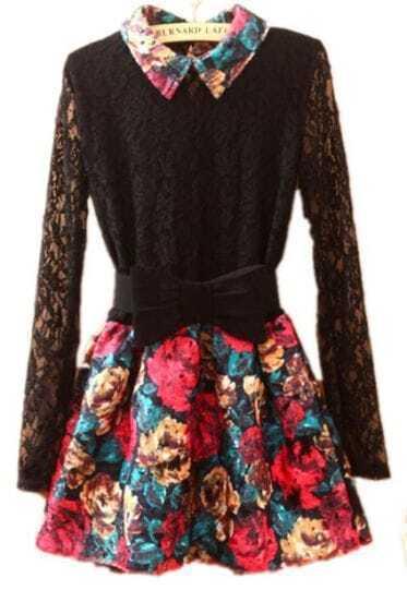 Black Lapel Lace Long Sleeve Floral Dress