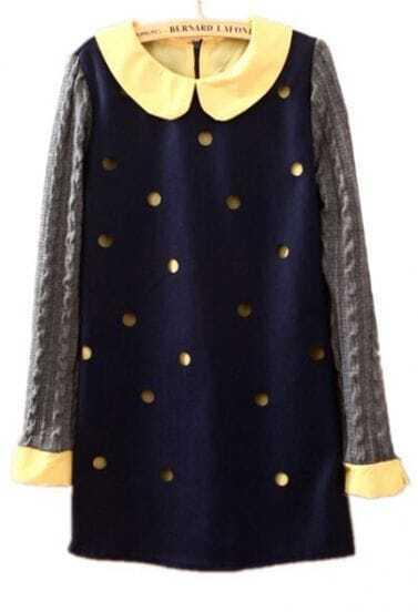 Navy Long Sleeve Hollow Polka Dot Dress