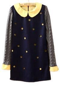 Navy Long Sleeve Hollow Polka Dot Dress